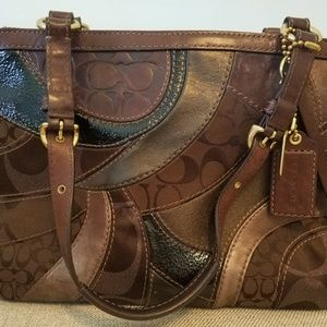 Coach patchwork brown mosiac bag